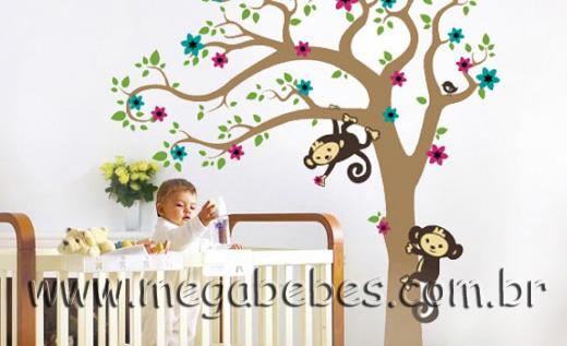Mega Bebês » Quarto de Bebê com Papel de Parede, Adesivos  ~ Adesivos De Parede Para Quarto De Bebe Feminino