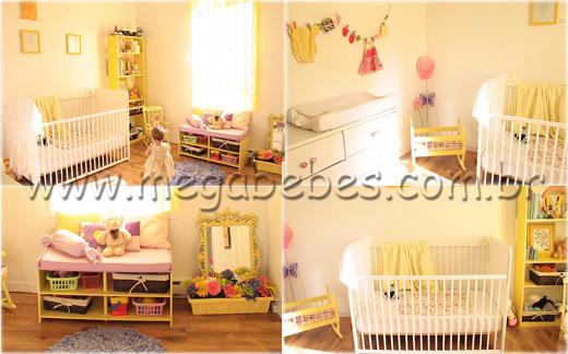 decoracao de quarto de bebe azul e amarelo:Quarto de Bebê Feminino