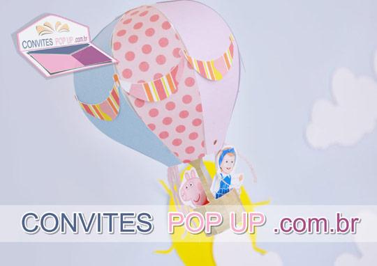 Balão 3D em scrapbook e POP UP com caricatura digital