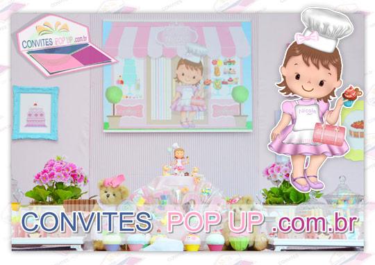 Painel para mesa do bolo com caricatura digital da criança