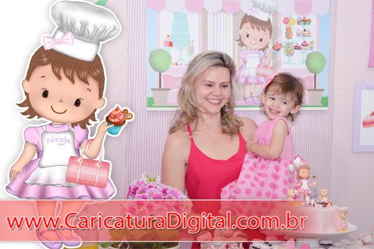 Caricatura digital charmosa para decoração de festa infantil